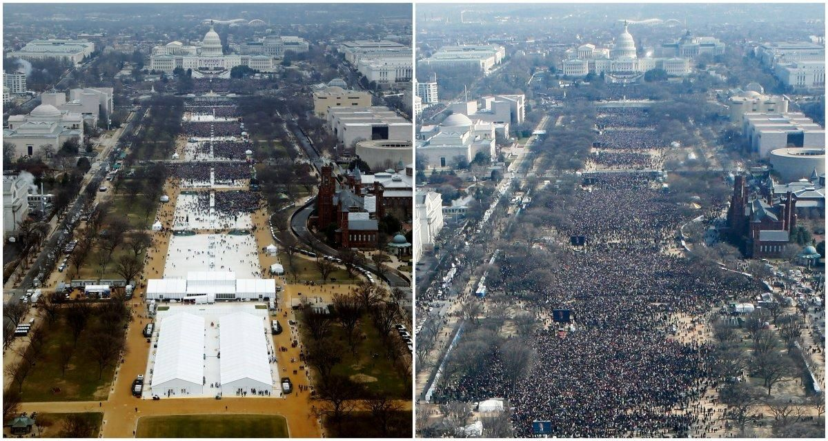 Inauguration Views from Washington Monument for Donald Trump (left, 2017 Reuters staff photo) and Barack Obama (2009)