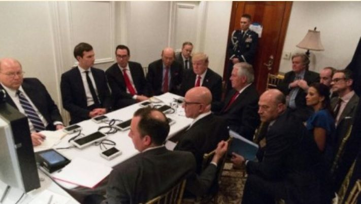 President Trump with cabinet and advisors planning war escalation in Syria