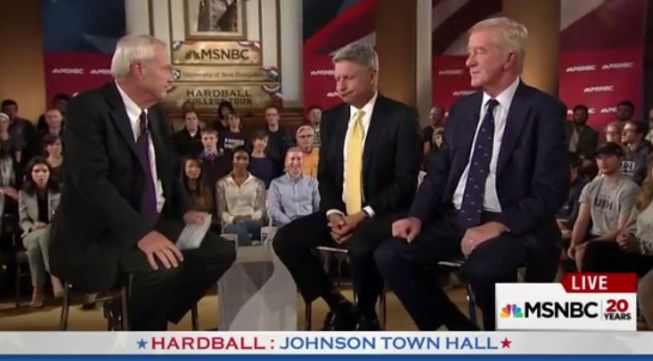 Gary Johnson, center, under questioning by MSNBC host Chris Mattherws, left, with Bill Weld looking onn