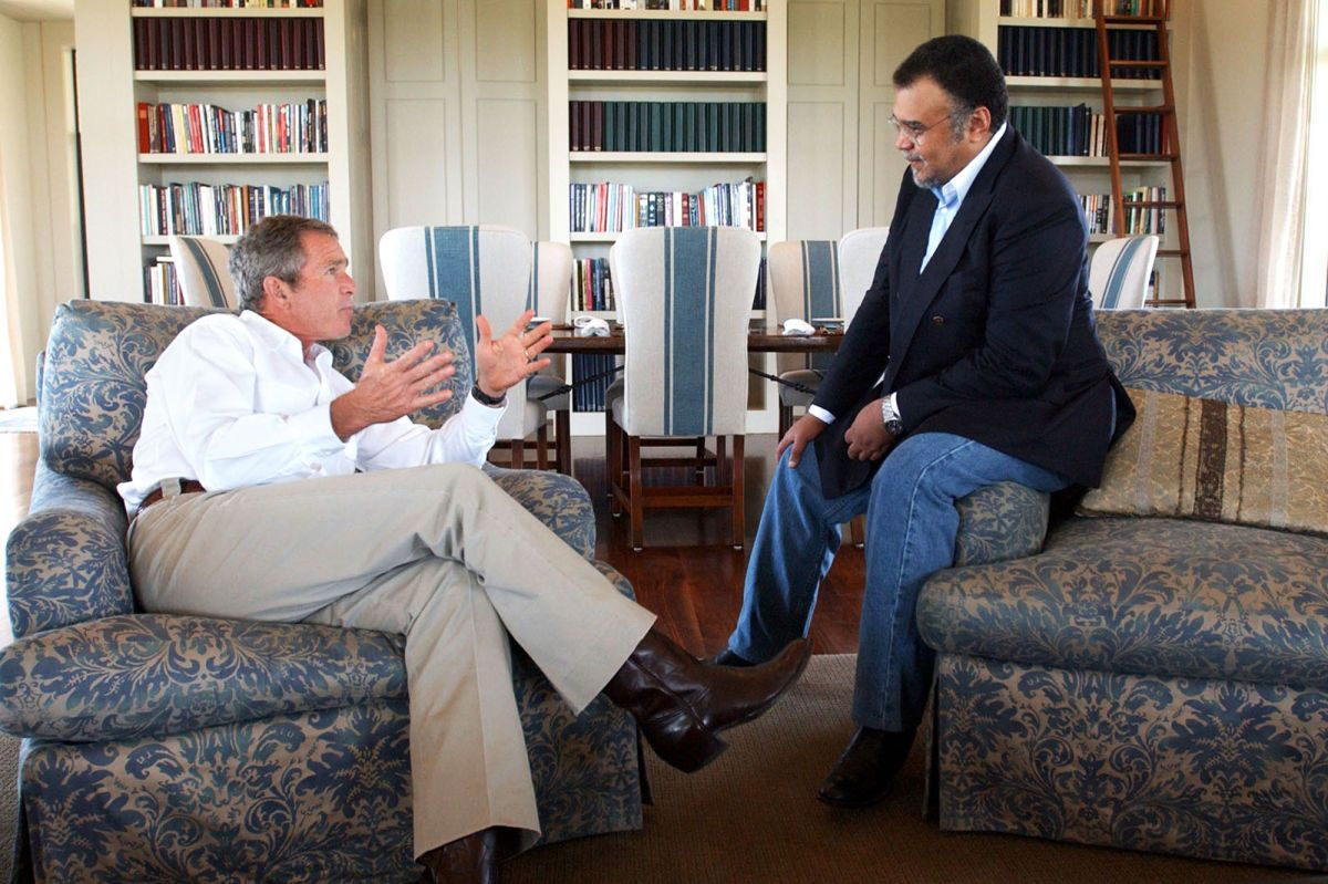 George W. Bush and Prince Bandar (WH photo by Eric Draper Aug. 2, 2002)