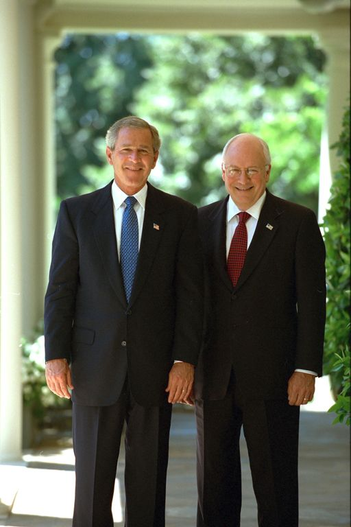 George W. Bush, Dick Cheney Standing at White House Colonade 2003 Bush Library