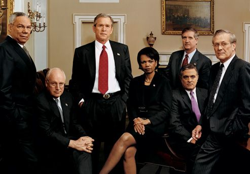 George W. Bush and top White House Staff Powell Cheney Condi Card Tenet Rumsfeld