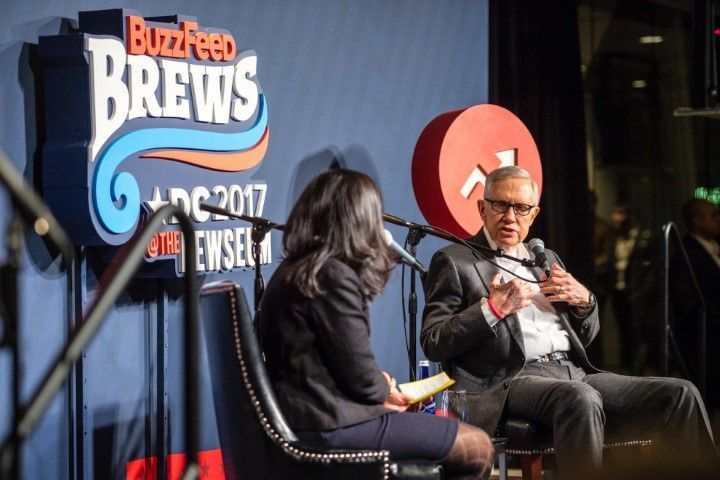Senate Minority Leader Harry Reid interviewed by BuzzFeed reporter Tarini Parti (Tim Lundin / Newseum Photo)
