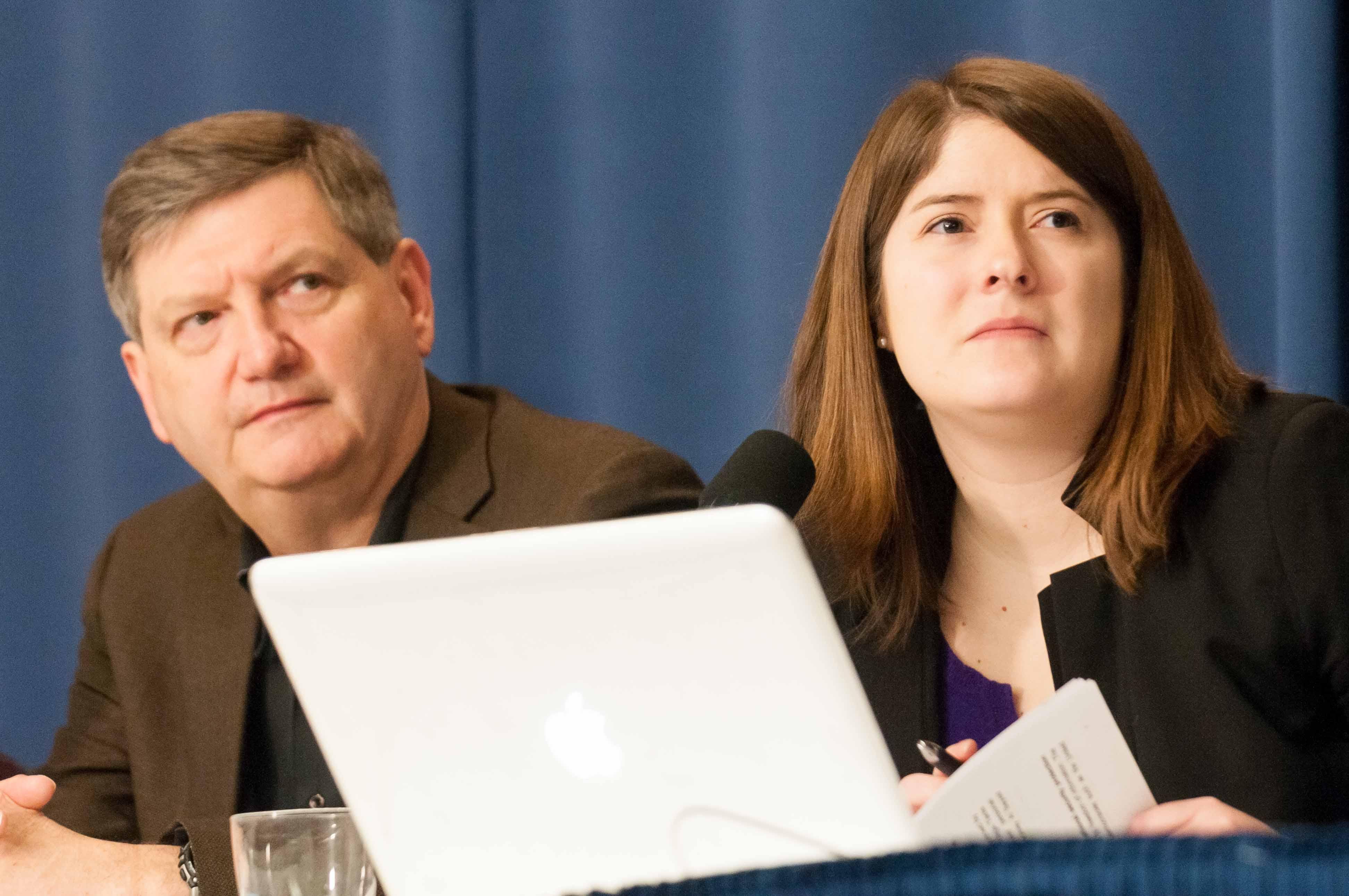 James Risen and Delphine Halgand at National Press Club Feb. 11, 2014