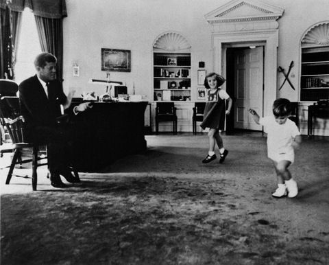 President and children John John and Caroline dancing December 1962. Photo by Mondadori Portfolio via Getty Images