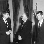 President Kennedy meets FBI Director J. Edgar Hoover, center, with Attorney General Robert F. Kennedy at right