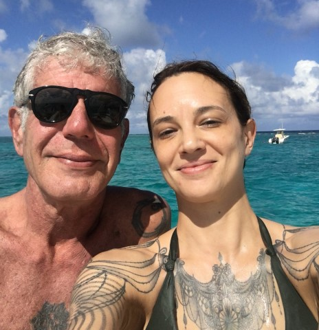 asia argento anthony bourdain beach twitter Small