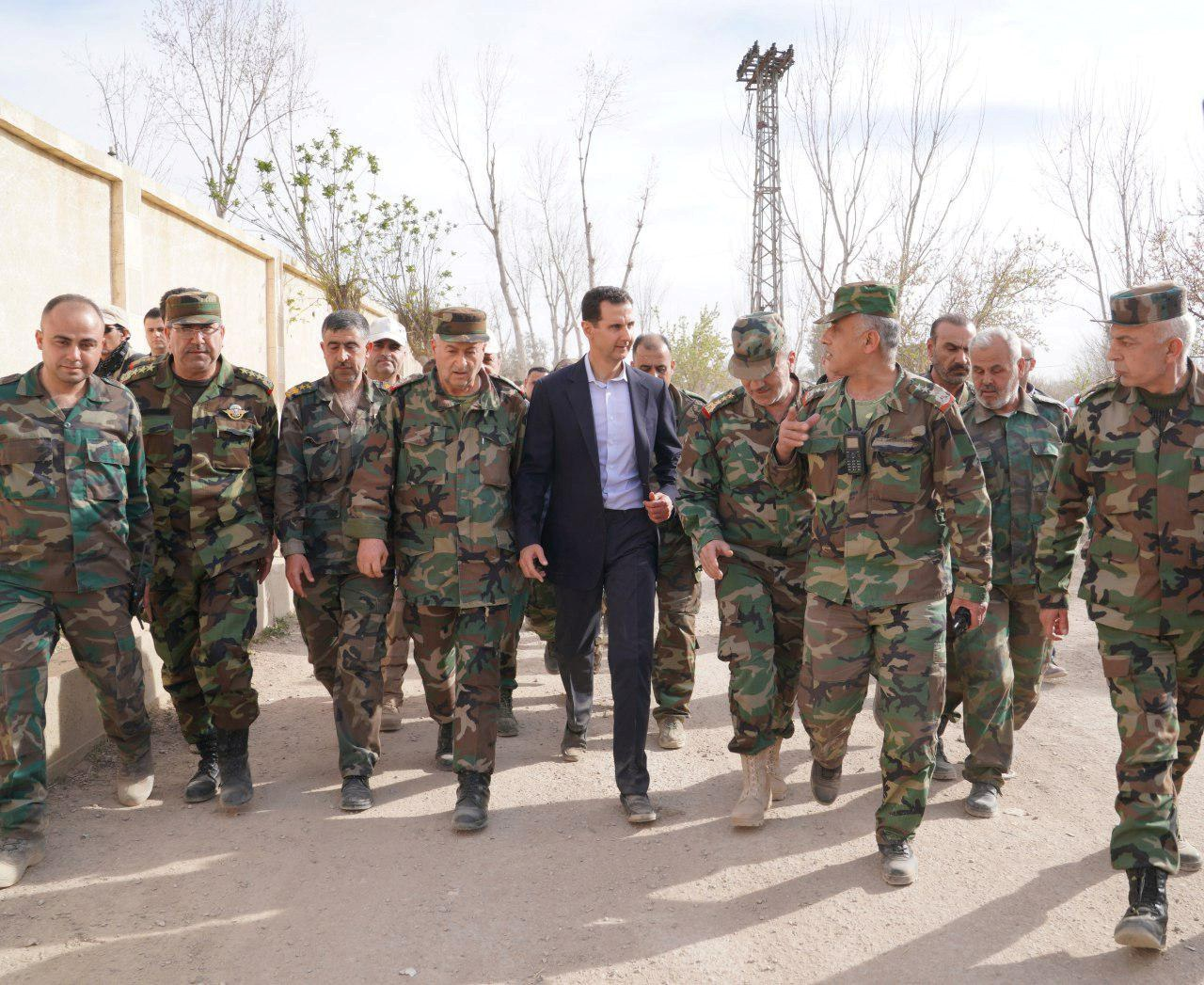 bashar al assad with troops sana photo via reuters