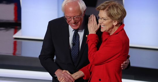 bernie sanders elizabeth warren july 3 2019 dem debate intros screengrab cnn