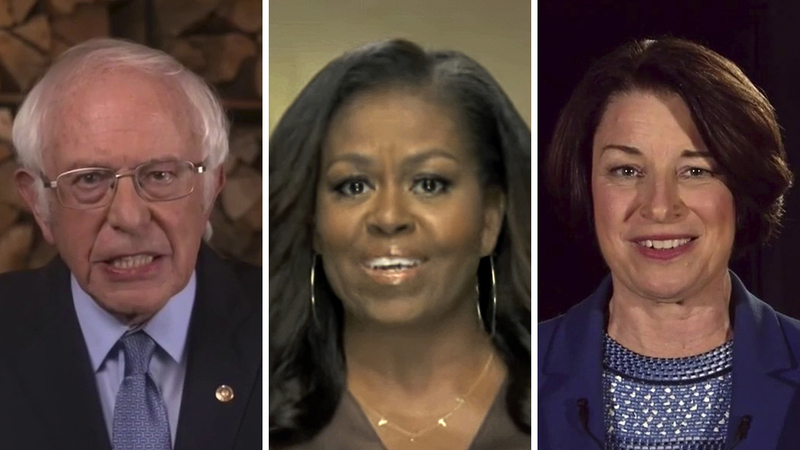 The Democratic National Convention featured speakers on Aug. 17 included former First Lady Michelle Obama, center, primary election runner-up Bernie Sanders (I-VT) and fellow senator and 2020 presidential contender Amy Klobuchar (D-MN)
