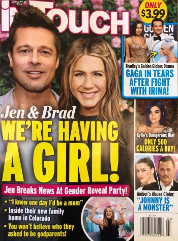 brad pitt jennifer aniston baby birl jan 21 2019 in touch Custom 2