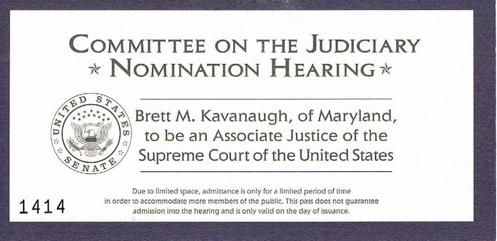 brett kavanaugh confirmation hearing ticket