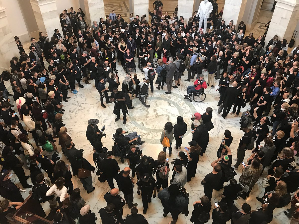 Protesters against Supreme Court nominee Brett Kavanaugh and police gather in the Russell Senate Office Building on Sept. 24, 2018 (ABC News photo by Brad Fulton via Twitter)