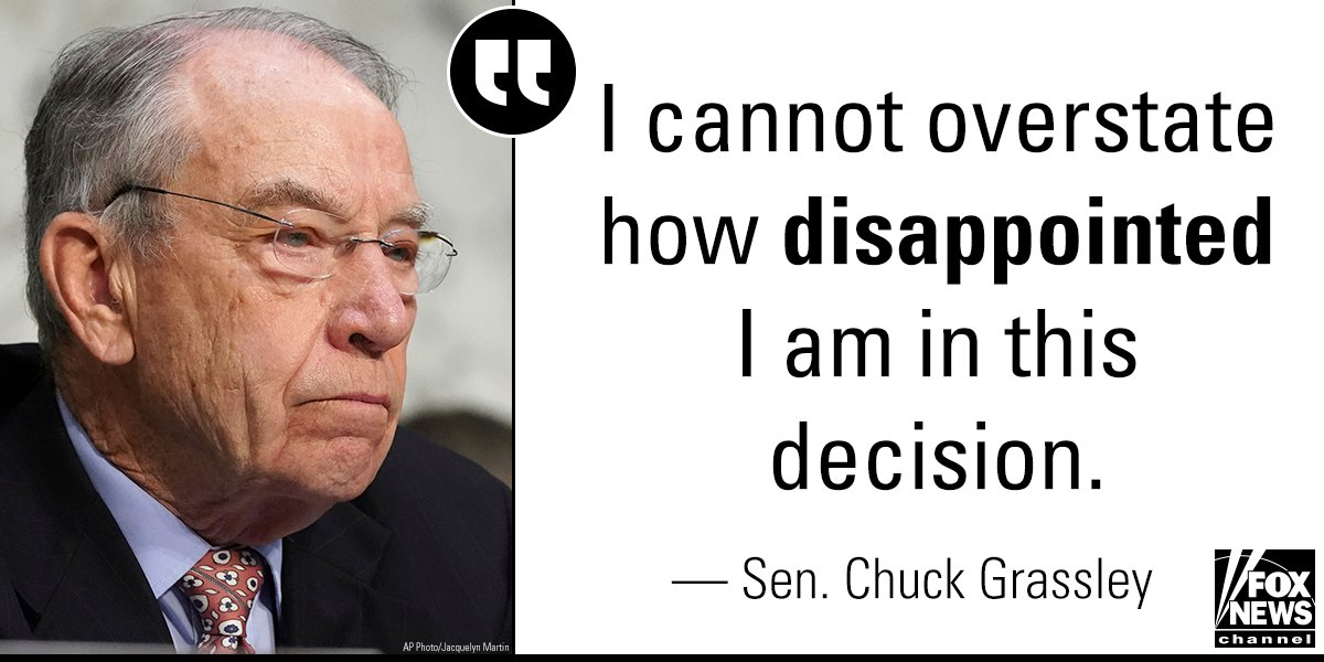 chuck grassley fox disappointed allegation