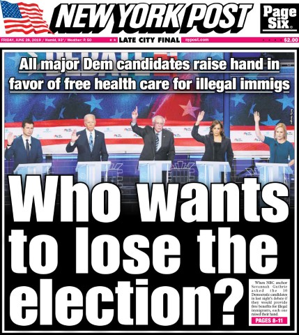 democratic debate june27 2019 nypost health for illegals Small