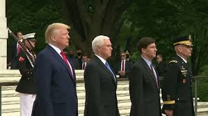 President Trump, Vice President Pense, Defense Secretary Mark Esper, left to right, at Memorial Day ceremonies 2020