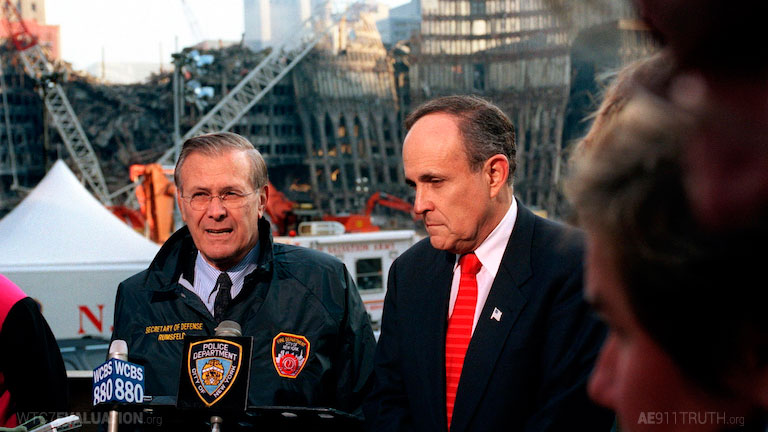 donald rumsfeld and rudolph giuliani at Ground Zero
