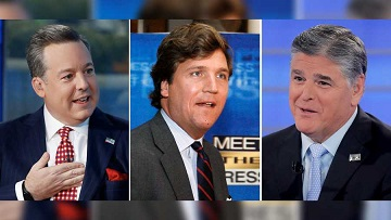 Former Fox News Chief White House Correspondent Ed Henry, left, and Fox prime time stars Tucker Carlson, center, and Sean Hannity (Fox News screenshots).