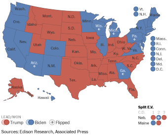 election 2020 national map washington post