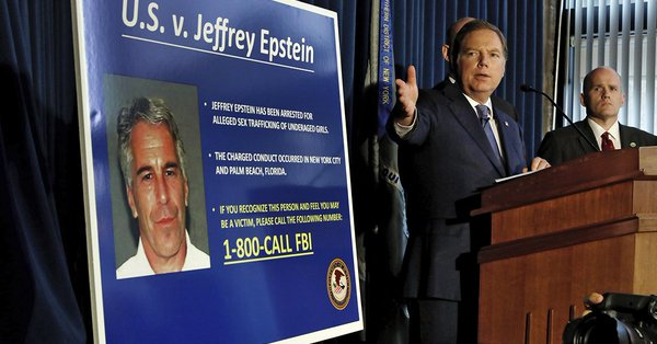 Geoffrey Berman, U.S. Attorney for the Southern District of New York, announces the indictment of Jeffrey Epstein in July.