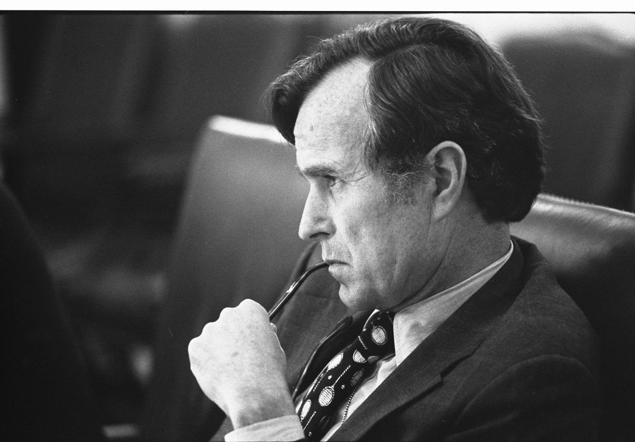 george hw bush cia director after assassinations in Beirut june17 1976 NARA wh photo