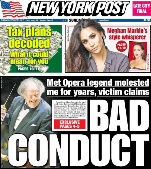 james levine 12 2 2017 nypost front page Custom