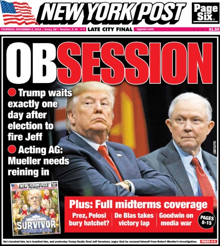 jeff sessions djt new york post front cover nov 7 2018 Small