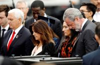 Vice President Michael Pence, his wife Karen Pence, Rebecca Falwell and her husband, Jerry Falwell Jr.,, left to right, shown in a 2019 Jonathan Drake of Reuters.
