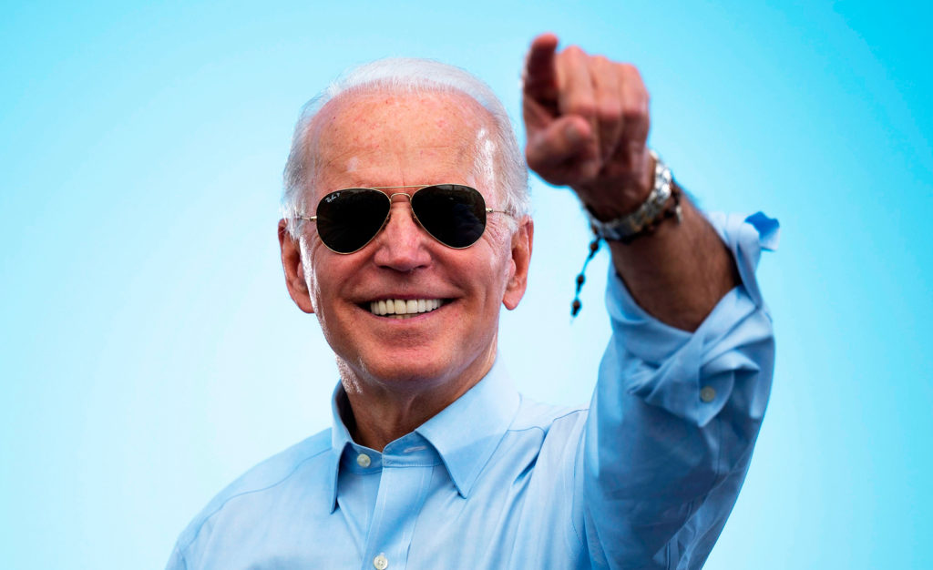 joe biden aviator glasses pointing