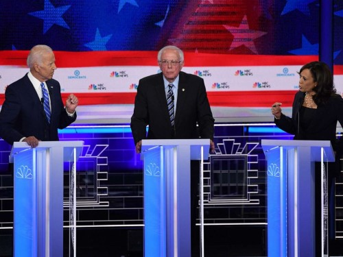 2020 Democratic Presidential candidates Joe Biden, Bernie Sanders and Kamal Harris on June 28, 2019 ( left to right, screengrab).