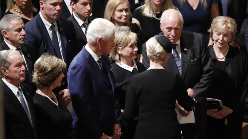 Cindy McCain greets former Vice President Dick Cheney at her husband's funeral on Sept. 1 as former Presidents George W. Bush and Bill Clinton look on along with Lynn Cheney, Hillary Clinton and Laura Bush