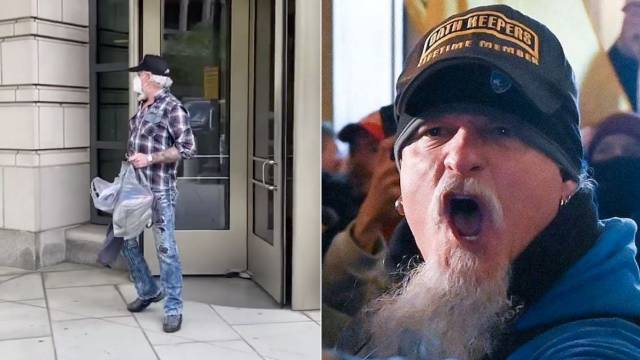 Capitol rioter and heavy metal musician Jon Schaffer leaves an Indianapolis courthouse after pleading pleading guilty to federal charges in the pro-Trump Capitol insurrection on Jan. 6, where his actions were captured on video as shown at right.