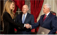 U.S. Sen. Kelly Loeffler, husband Jerry Sprecher, president of the New York Stock Exchange, and Vice President Mike Pence