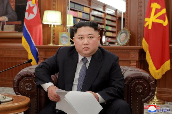 Kim Jong-un in Pyongyang on Jan. 1, 2019 in his New Year's Day speech (Korean Central News Agency, via Reuters)
