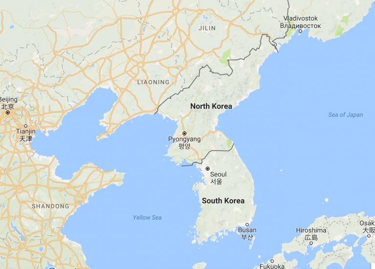 korean peninsula google maps