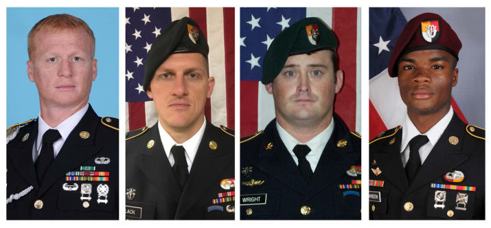 Jeremiah Johnson, Bryan Black,  Dustion Wright and La David Johnson (left to right), Special Forces officers killed in Niger,