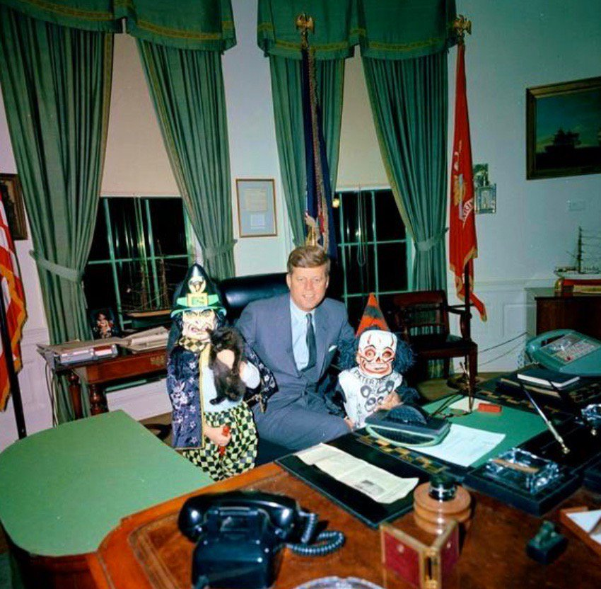 President John F. Kennedy with children on Halloween
