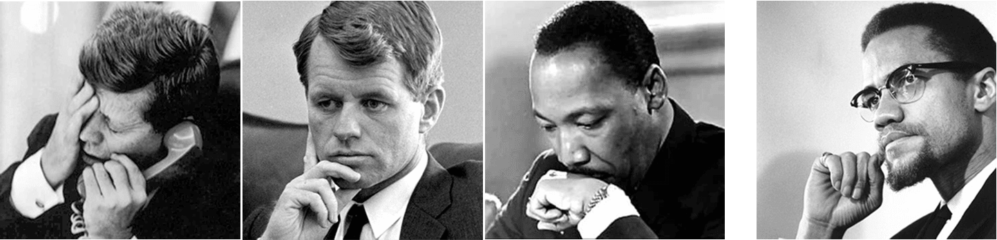 jfk mlk rfk malcolm x kennedys and king logo