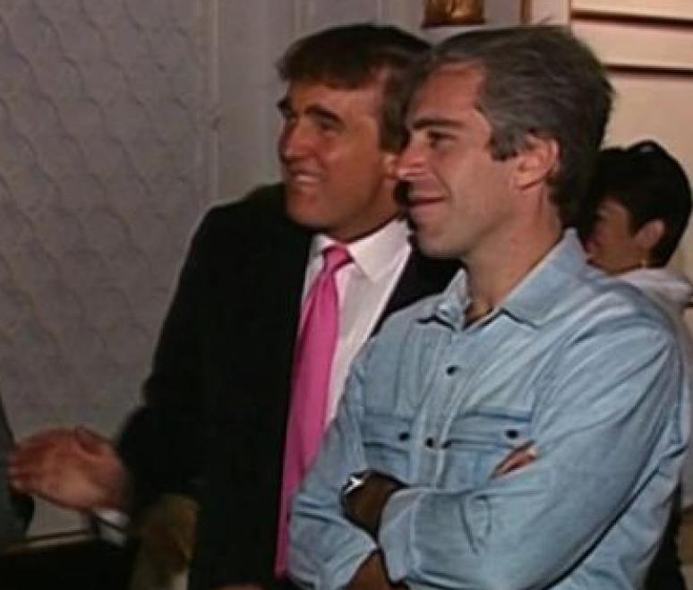 DJT jeffrey epstein cheerleaders party cropped mar a logo screenshot