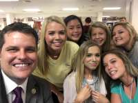 Florida Congressman Matt Gaetz is shown in a 2017 file photo during a visit to Pace High School in his Panhandle district.