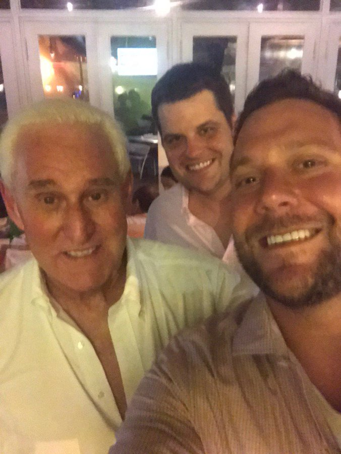 Matt Gaetz, center, Roger Stone, left, and Joel Greenberg in a 2017 Facebook photo.
