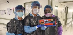 Nurses without normal protective gear use