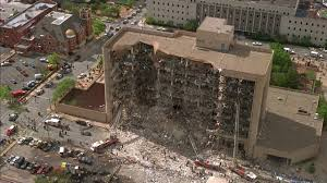 The Alfred Murtha Federal Building in Oklahoma City following a bombing by right-wing radicals on April 19, 1995, killing 168 people, including 19 infants and toddlers (Photo via ABC News).