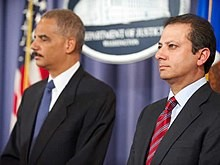 Preet Bharara, right, President Obama's U. S. attorney for the Southern District of New York, with U.S. Attorney Gen. Eric Holder (2011 Department of Justice Photo).