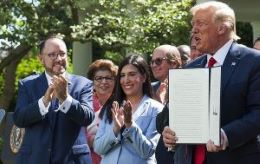 Goya Foods President and CEO Robert Unanue, applauds, as President Trump signs an Executive Order on the White House Hispanic Prosperity Initiative in the Rose Garden at the White House on July 9, 2020.