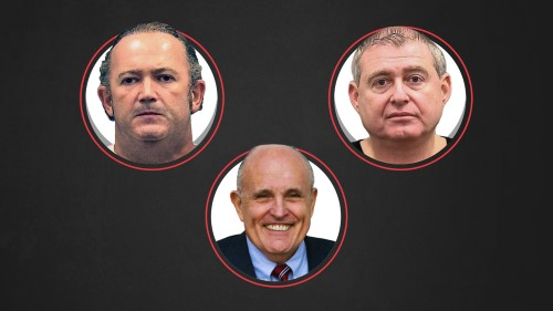 Igor Fruman, top left, and Lev Parnas, two Soviet-born associates of Rudy Giuliani, President Trump's personal attorney at bottom of a Wall Street Journal graphic above by Laura Kammermann, appear to be deeply involved in the Ukraine scandal.