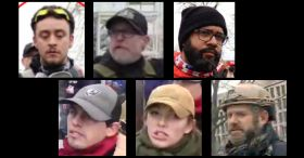 Six 'Proud Boys' Indicted: Clockwise, from upper left: Ryan Ashlock, William Chrestman, Louis Enrique Colon, Cory Konold, Felicia Konold, and Christopher Kuehne. (Images via federal court documents.)
