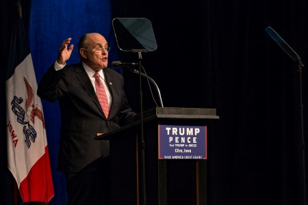 Rudy Giuliani introduces then-candidate Donald Trump at an Iowa campaign rally in September 2016. (Source: Flickr/John Pemble, CC BY-ND 2.0)