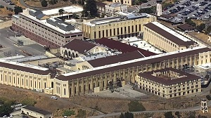 California's San Quentin prison (Aerial view by ABC-TV 7, San Francisco).