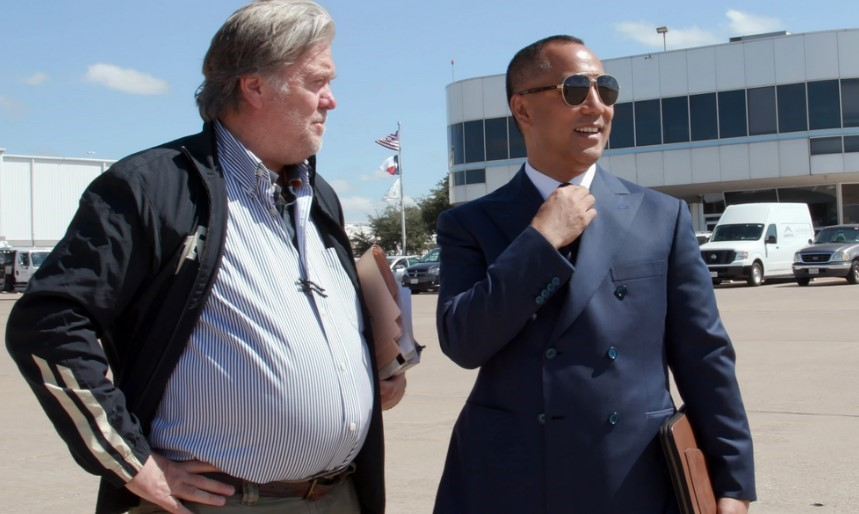 Former Trump White House aide Steve Bannon with his backer, billionaire Guo Wengui, a fugitive from his native China.